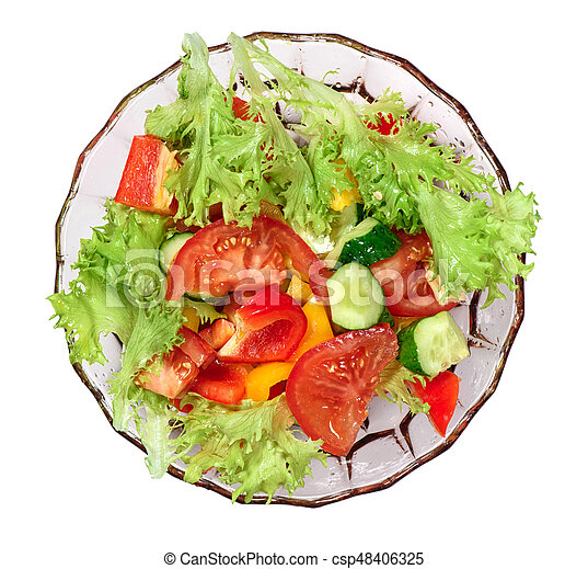 Fresh Vegetables Salad Isolated Top View