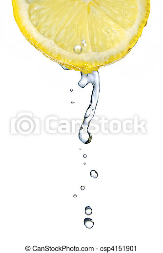 fresh water drop on lemon isolated on white - csp4151901
