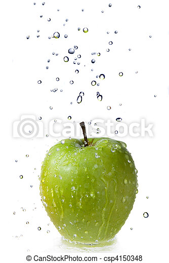 fresh water drops on green apple isolated on white - csp4150348