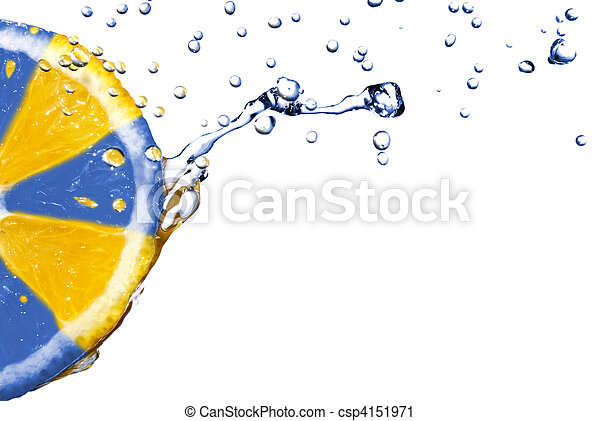 fresh water drops on orange isolated on white with ukranian colors - csp4151971