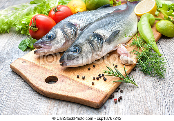 Fresh whole sea basses - csp18767242
