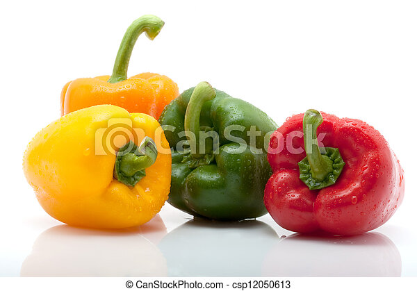 fresh yellow, orange and green pepper with water drops isolated on white background - csp12050613