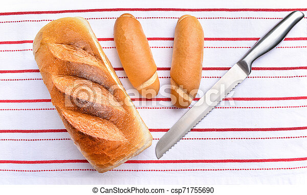 Freshly baked crisp bread with fresh rolls. - csp71755690