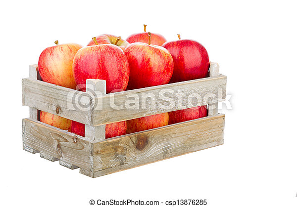freshly harvested apples in a wooden crate - csp13876285