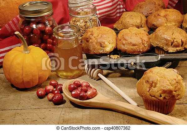 Freshly made pumpkin and berry muffins - csp40807362