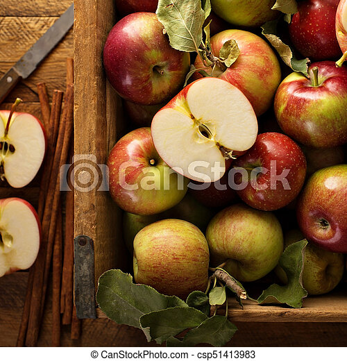 Freshly picked apples in a wooden crate - csp51413983