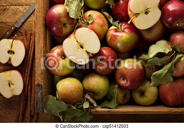 Freshly picked apples in a wooden crate - csp51412503