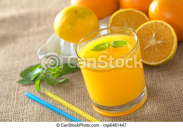 Freshly squeezed orange juice with orange slice and mint leaf on top of the juice (Selective Focus, Focus on the mint leaf on top of the juice) - csp6481447