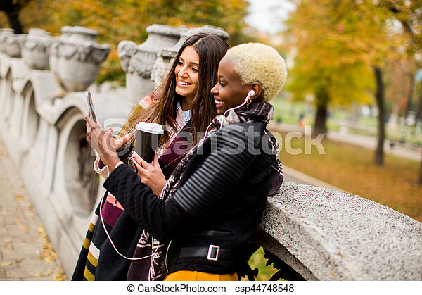 frican american and caucasian woman posing outside - csp44748548