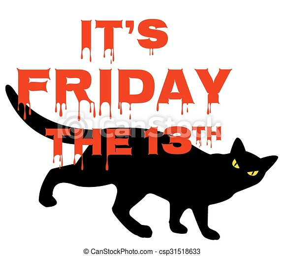 card for friday 13 with black cat vectors search clip art rh canstockphoto com  friday the 13th mask clipart