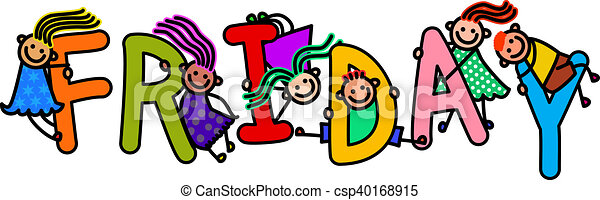 friday kids a group of happy stick children climbing over letters rh canstockphoto com friday clipart gif friday clipart animated