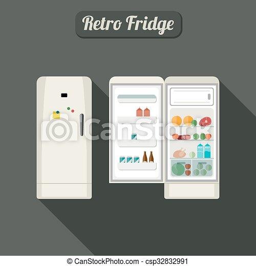 Fridge closed and open. - csp32832991
