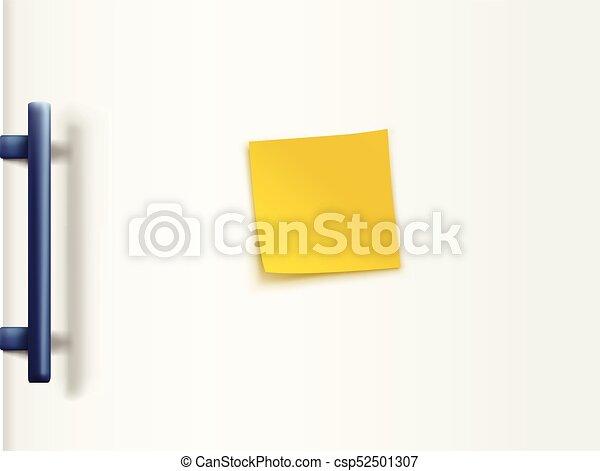 fridge door white with paper - csp52501307