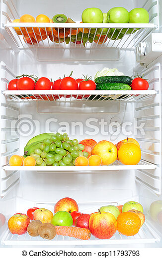 Fridge Full Of Fruit And Vegetables Refrigerator With Fruit And