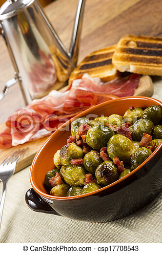 Fried Brussel Sprouts with Ham - csp17708543