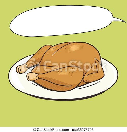 Fried Chicken Food Pop Art Style Vector Illustration Comic Book