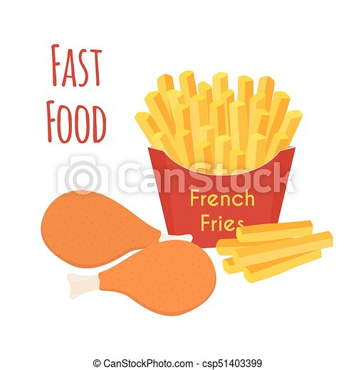 Fried Chicken Legs Wings French Fries Cartoon Flat Style Vector