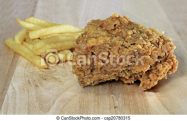 fried chicken with french fries - csp20780315