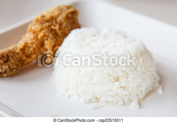 Fried chicken with Rice - csp23515511