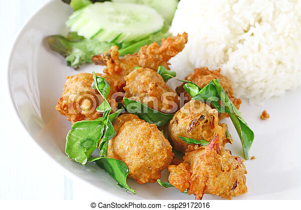 Fried Chicken with Rice. - csp29172016