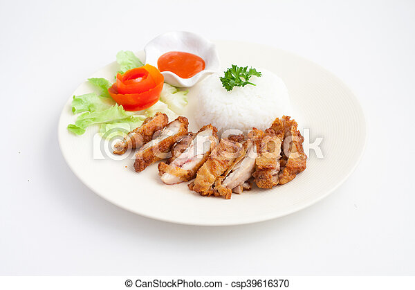 Fried Chicken with Rice - csp39616370