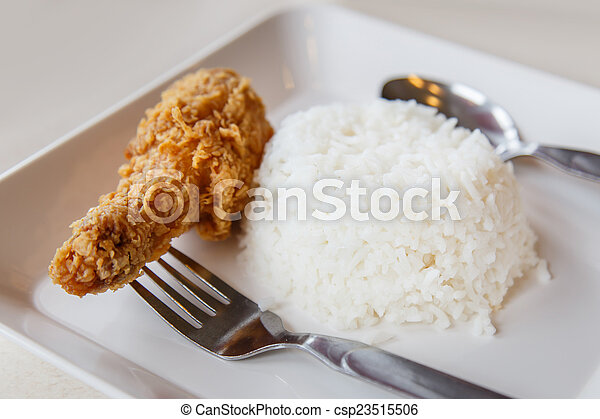 Fried chicken with Rice - csp23515506