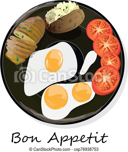 Fried egg, sliced tomato and baked potato. Vector illustration of food on cast iron pan and white background... - csp76938753