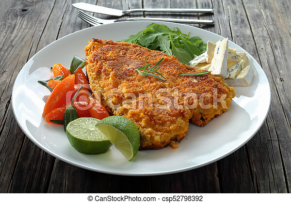 Fried Fish Steak On White Plate