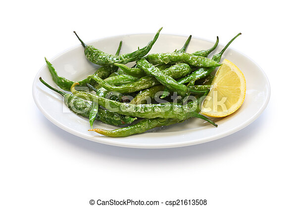 fried guindilla peppers, basque cui - csp21613508