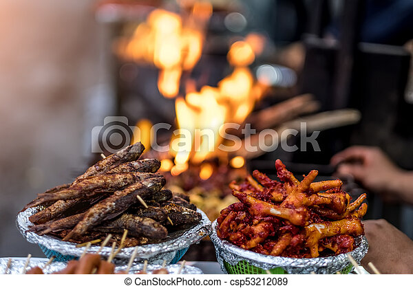 Fried Nepalese Street Food On Market Freshly Fried Fish And Deep