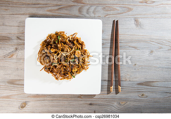 Fried Penang Char Kuey Teow which is a popular noodle dish in Ma - csp26981034