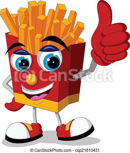 fried potatoes cartoon thumb up - csp21810431