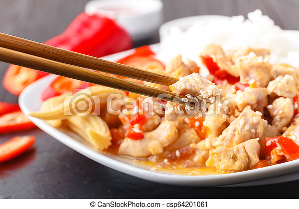 Fried rice with chicken - csp64201061