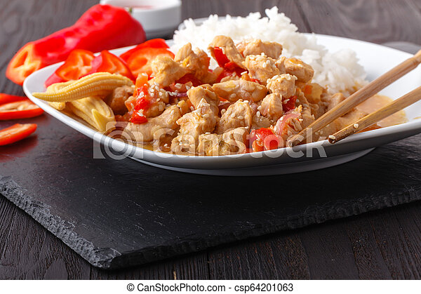 Fried rice with chicken - csp64201063