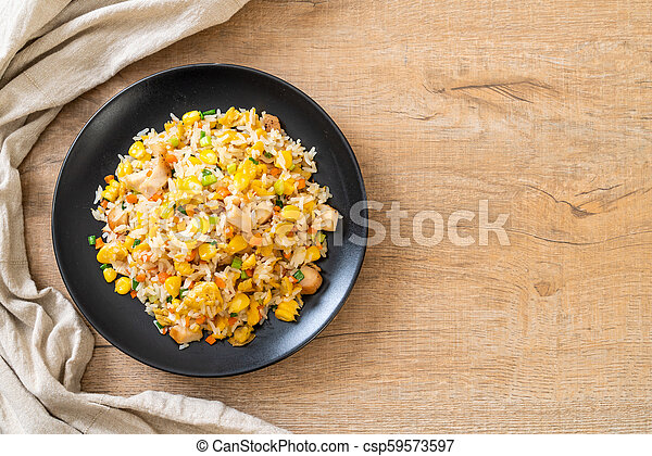 fried rice with chicken - csp59573597