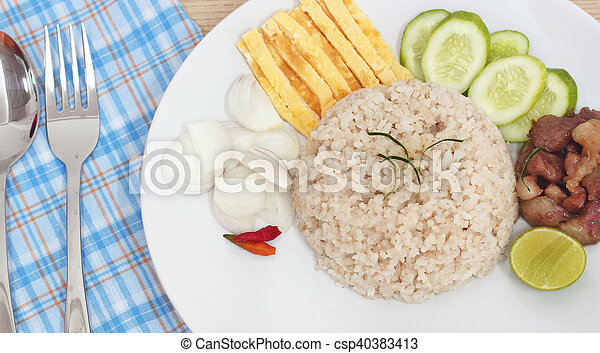 Fried rice with Shrimp paste, Thai food - csp40383413