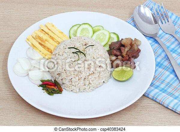 Fried rice with Shrimp paste, Thai food - csp40383424