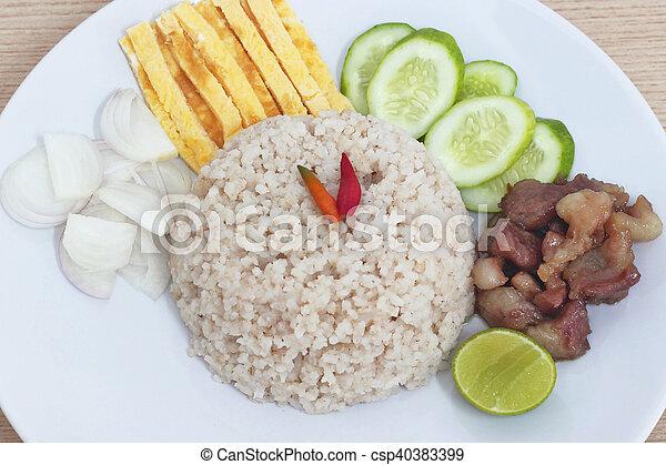 Fried rice with Shrimp paste, Thai food - csp40383399