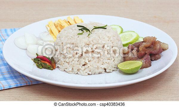 Fried rice with Shrimp paste, Thai food - csp40383436