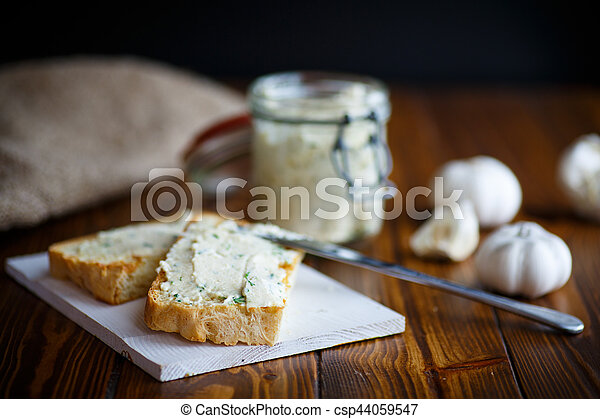 Fried toast with cheese pasting - csp44059547
