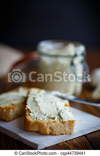 Fried toast with cheese pasting - csp44739441