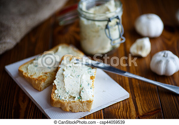 Fried toast with cheese pasting - csp44059539