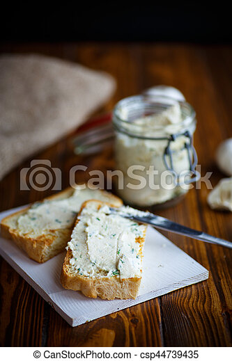 Fried toast with cheese pasting - csp44739435