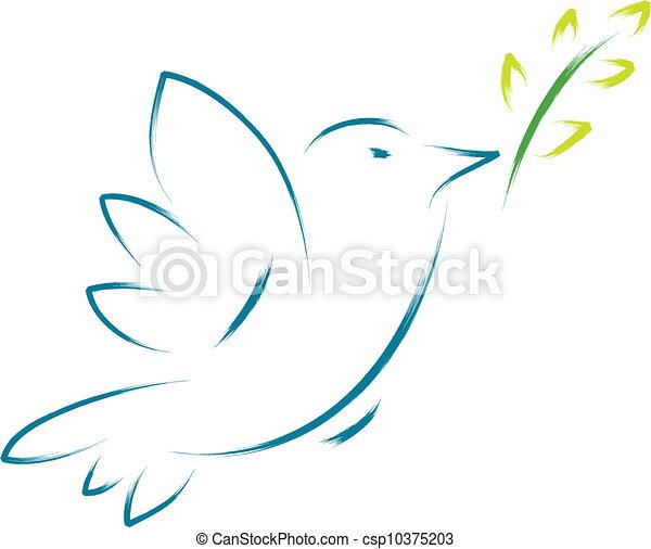 Peace Dove mit Blume - csp10375203