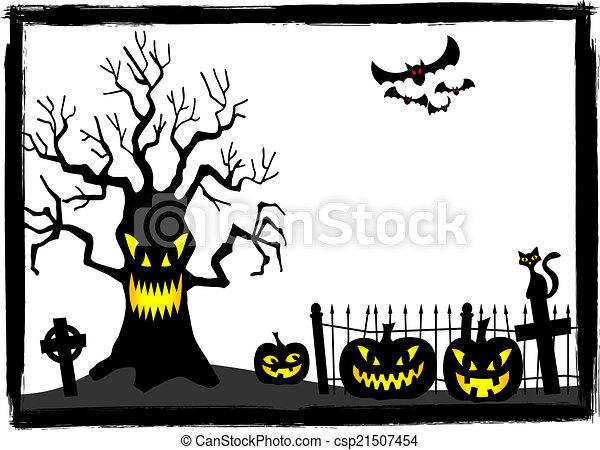 Friedhof, halloween, baum, gruselig. Halloween, friedhof,... Clipart ...