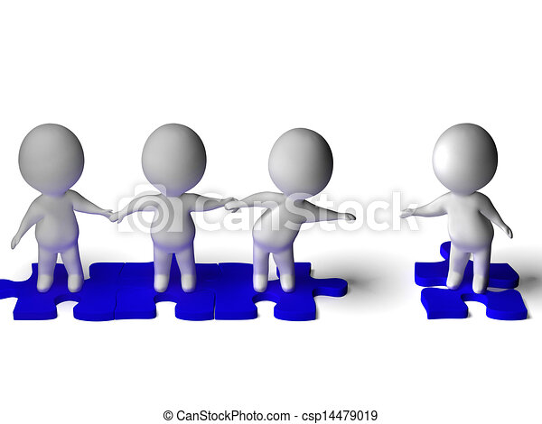Friend Joining Group Shows Friendship And Togetherness - csp14479019