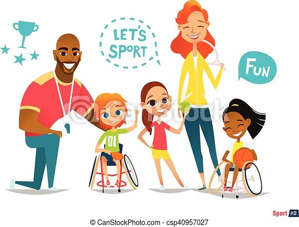friend., niños, sillas de ruedas, illustration., su, family., médico, joven, deportes de pelota, discapacitada discapacitado, sportsmen's.,