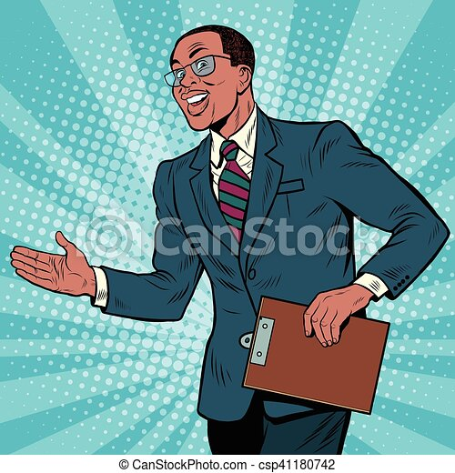 Friendly African American businessman - csp41180742
