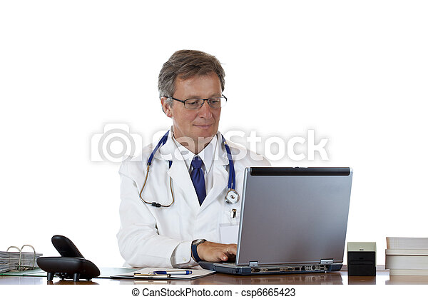 Friendly aged doctor types medical history in laptop thoughtfully - csp6665423