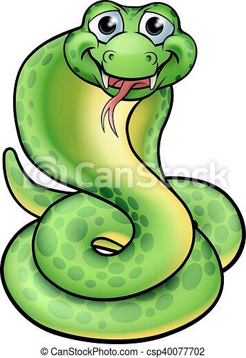 Friendly Cartoon Cobra Snake - csp40077702